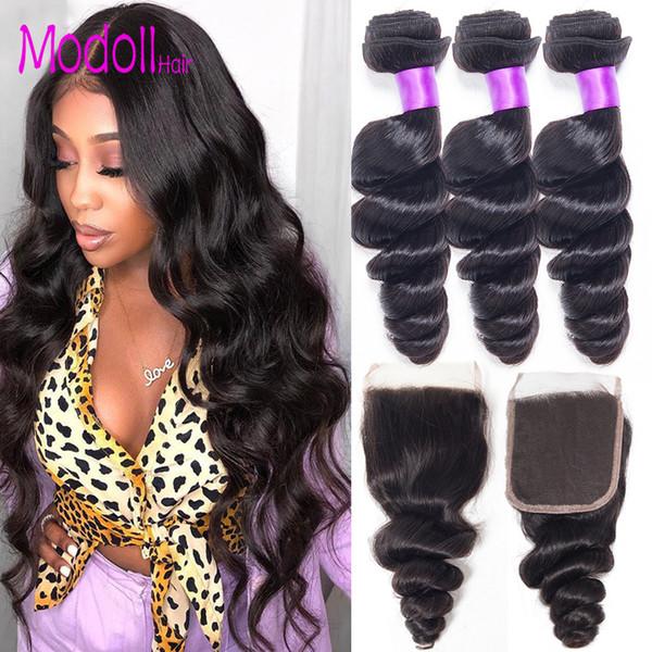Brazilian Virgin Hair Weave Loose Wave Bundles With Closure 9A Dhgate Human Hair Bundles With Closure Remy 3/4 Bundles With Closure