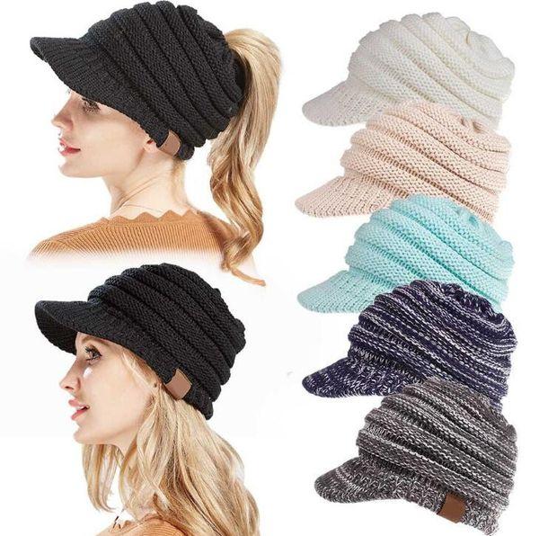 Luxury Design Cap Winter Knitted Wool Capsl Hat Peaked Cap Warm Beanies Unisex Sport Knitted Caps Brim Cap #CC03