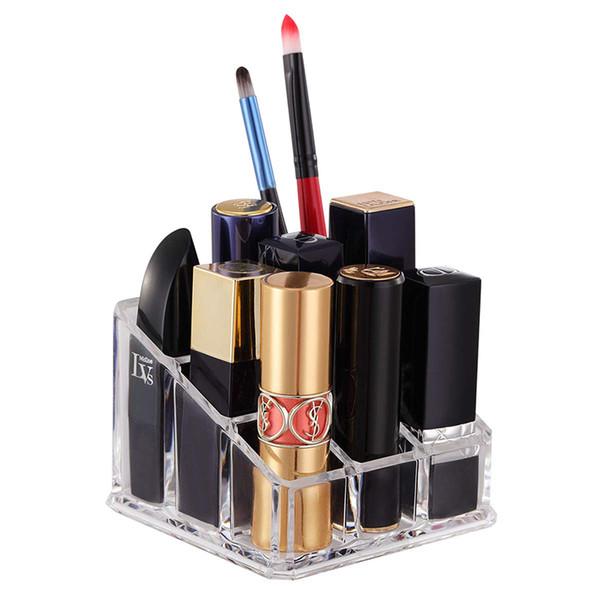 Lipstick Organizer Lip Gloss Holder Organizer 9 Slots Transparent Acrylic Makeup Cosmetic Storage Lipstick Organizer Display Holder
