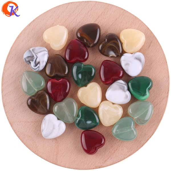 wholesale 14MM 200Pcs/Lot Acrylic Beads/Beads For Japanese Jewelry/Heart Bead/Hand Made/Marble Effect Bead/Earring Findings