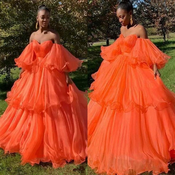 2019 New Design Sweetheart Prom Dresses Poet Sleeves Off Shoulder Evening Gowns Sweep Train Tiered Skirt Long Orange Graduation Party Gowns
