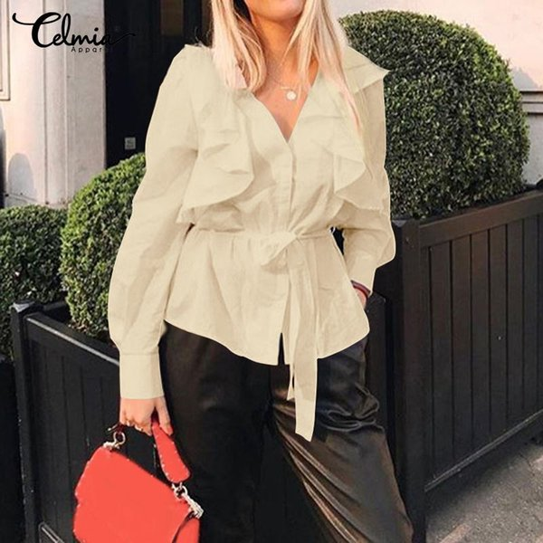 2019 plus size v-neck solid blouses women long sleeve tunic casual ruffles shirts ladies elegant work party blusas 5xl, White