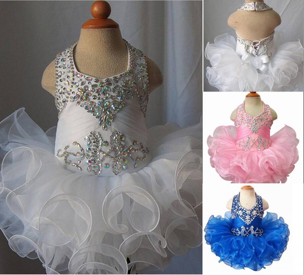 2020 Toddler Pageant Dresses Organza Ruffles Cupcake Kids Prom Gowns Crystal Open Back With Bow Little Girls Birthday First Holy Communion