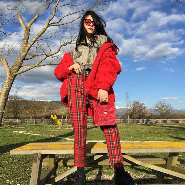 Nouveau été Pantalons Mode femme Vêtements Red Plaid Femme Sarouel Fit Femmes New Pants Vêtements décontractés