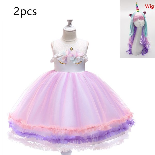 New Kids Dresses For Girls Summer Tutu Party Unicorn Girls Dress Easter Costume Kids Rainbow Dresses and wig mask