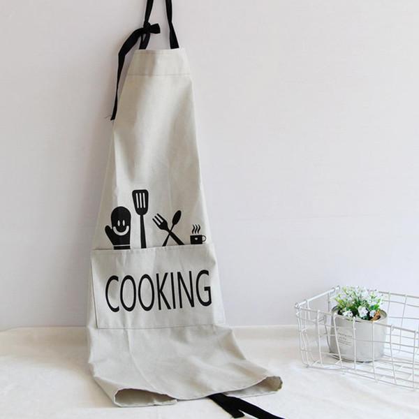 Nueva ropa de moda Trajes de lino de algodón delantal La cocina al horno de la panadería de algodón delantal mamá ayudante de cocina Accesorios-gris claro