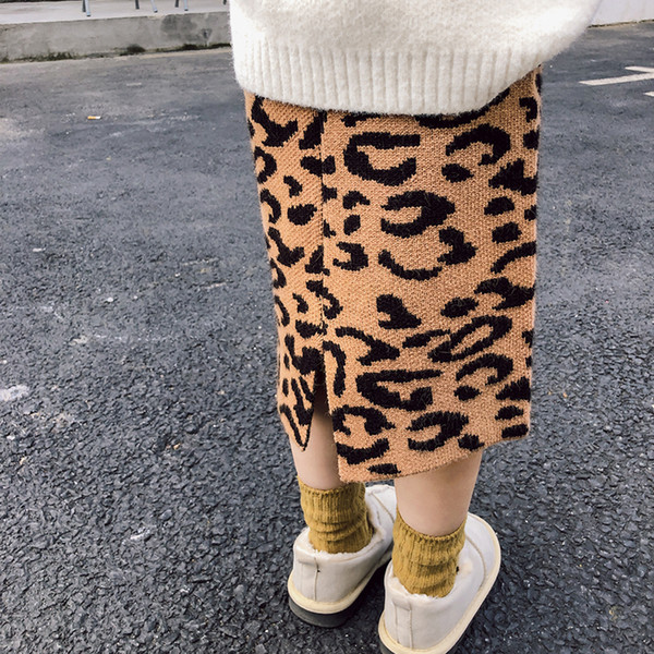 WLG girls autumn winter skirts kids girls christmas leopard printed casual skirt baby knitted all match clothes children