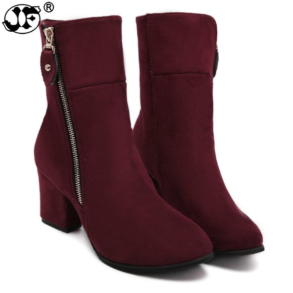 Women Boots Flock Mid Calf Boots Zipper Pointed Toe High Heel Winter Female Shoes Size 35-41 Solid Botas Mujer fgb890