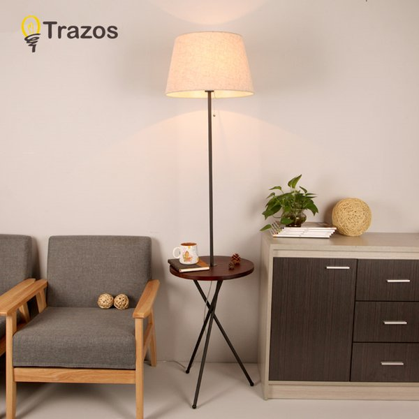 2019 Wooden Floor Lamp Modern Living Room Bedroom Study Floor Standing  Lamps White Fabric Wooden Lights Deco Bedside Table Lamp From Burty,  $205.56 | ...