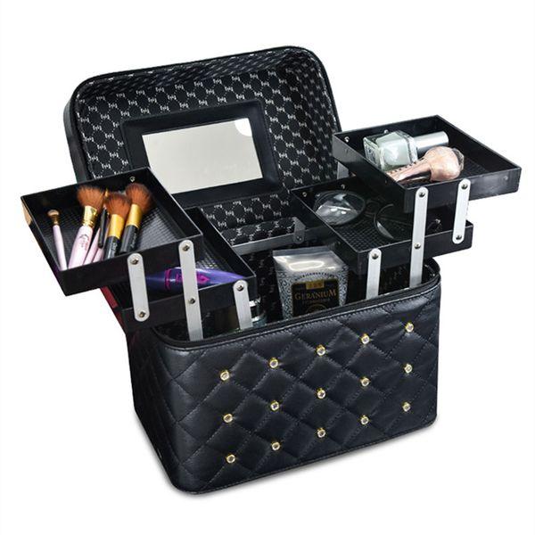 Professional PU Leather Cosmetic Cases Multilayer Big Makeup Box Bag Beauty Tattoos Nail Art Tool Nail polish Storage Organizer