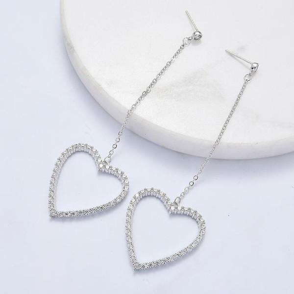 Neue Ankunft Kristall Klassische Herz Frauen Baumeln Ohrringe Mode Doppel Liebende Ohrringe Mit Langen Herzen Ohrringe Kupfer Schmuck