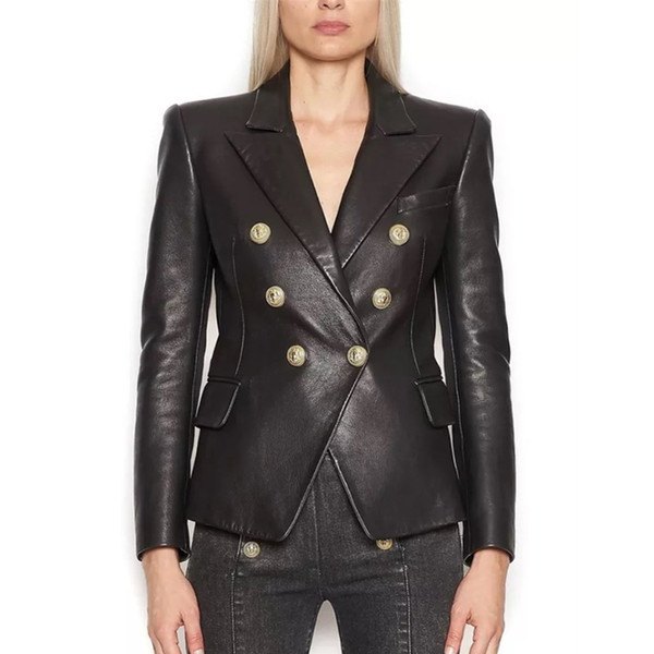 EXCELLENT QUALITY 2019 Stilvolle Designer-Blazer für Damen Lion Buttons Artificial Lederjacke Blazer Plus Size