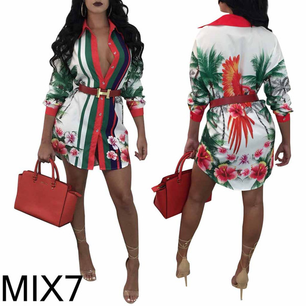 Womens Designer Dress Fashion Printed Dresses Luxury Party Character Red Lips Gold Chain Pattern Shirt Sexy Geometric Plus Size Clothes 2019