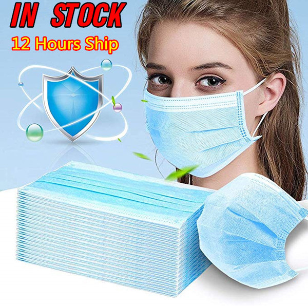 top popular Disposable Face Mask 3 Layer Ear-loop Dust Mouth Masks Cover 3-Ply Non-woven Disposable Dust Mask Soft Breathable outdoor part Free DHL 2020