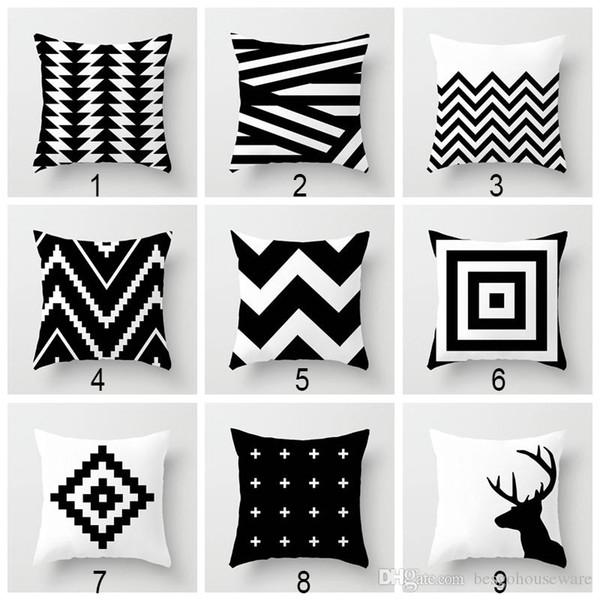45 * 45cm di stampa Bianco Nero federa geometrico Digital Car Cuscino Spandex cuscino della copertura per il divano-letto tiro cuscino caso BH2220 CY