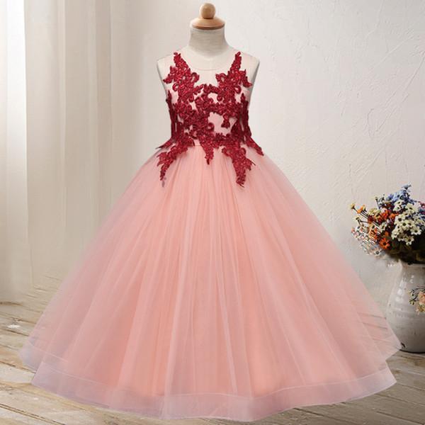 Compre Encaje Vestido De Fiesta Para Niña Vestidos Para Niñas 2019 Cuello Transparente Con Cuentas Cristal Satinado Verde Menta Vestidos De Niña De