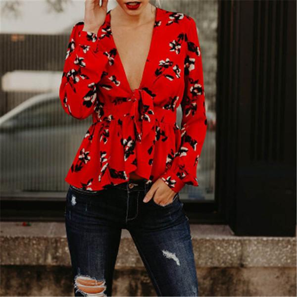La migliore camicia classica di vendita di stampa di modo delle donne La camicia lunga delle donne larghe a maniche lunghe del collo di V-collo della nuova primavera profonda