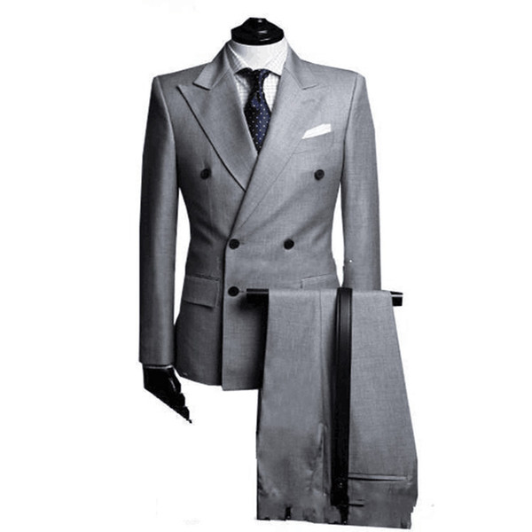 Double Breasted Side Vent Light Grey Groom Tuxedos Peak Lapel Groomsmen Men's Wedding Tuxedos Prom Suits Two Pieces (Jacket+Pants)