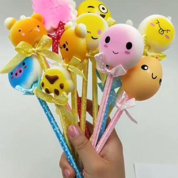 Hot Squishy Pencil Sleeves Cute Panda Dolls Squishies Slow Rising Pencil Toppers Grip Fruit Scented Stress Relief Toy Ball pen Gift