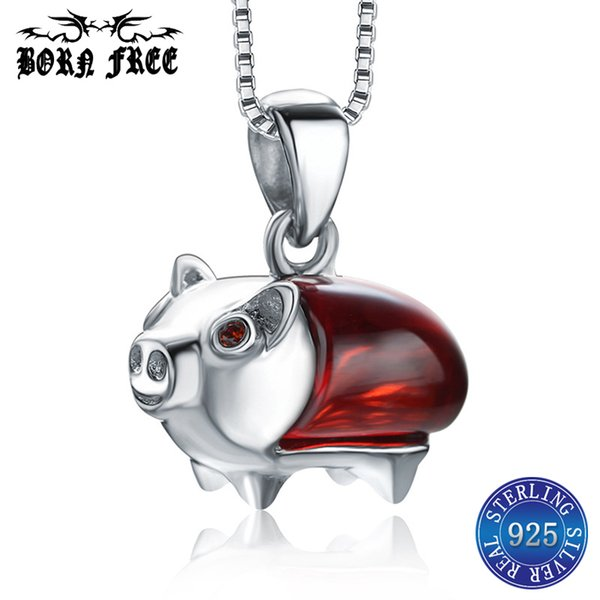 925 sterling silver simple pendants for women femme mujer charms pendentif jewelry bijoux colgantes cute pig pendant necklace