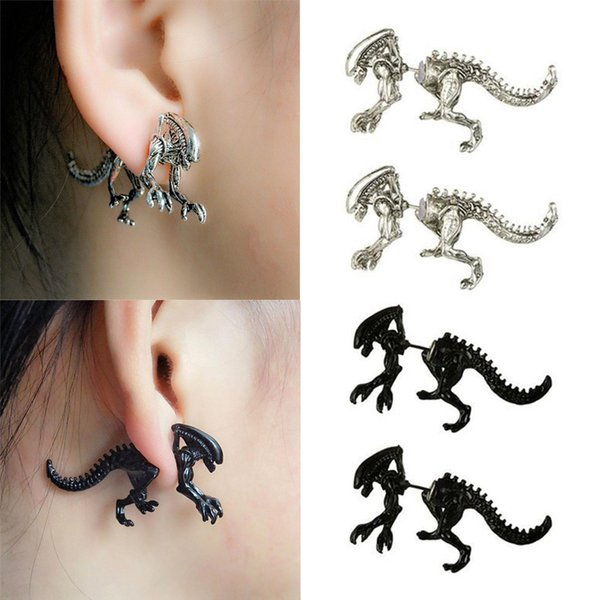 1 Pair Punk Cool 3D Scary Monster Stud Earring Cute Animal Dragon Dinosaur Stud Earring For Women Men Halloween Gift