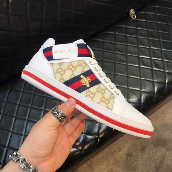 18ss luxe chaussures de sport des hommes bande élastique respirant paillettes en cuir confortable chaussures de voyage en plein air hommes occasionnels taille 38-44