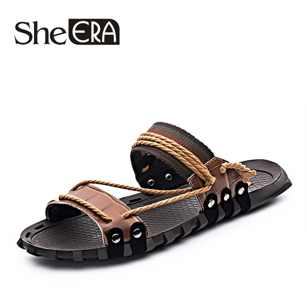 Genuine Leather Men Sandals Men's Casual Sewing sneakers Outdoor Beach Shoes Buckle Native Male Rubber Sole leisure slippers