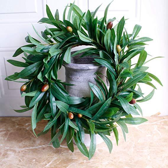 Искусственный оливковый венок цветы венки двери перемычки цветы зелень венки искусственной листвы венок для дома свадебные украшения двери