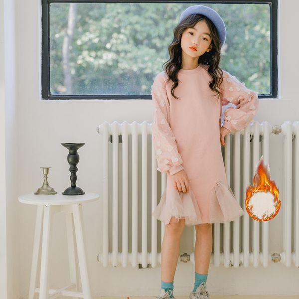 doux velours de patchwork de dentelle filles rose capuche hiver robe s'épaissir chaud jupes à manches longues