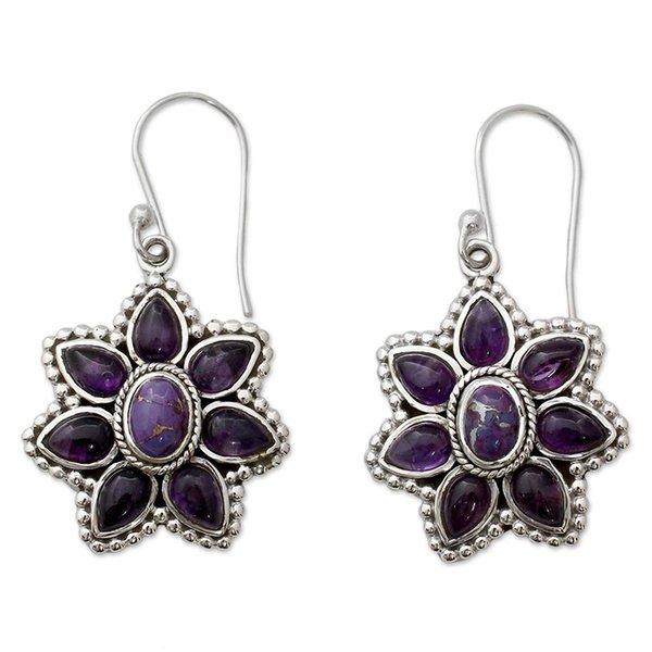 Vintage Natural Amethysts Petal Statement Earring Boho Purple Stone Crystal Flower Dangle Earrings for Women Fashion Jewelry