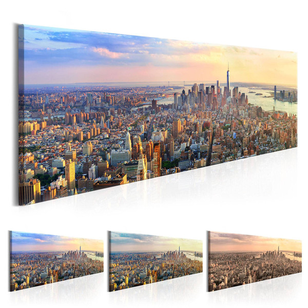 Unframed World Art Canvas Prints New York City Oil Painting Building Picture Wall Art Decor Knife Painting Printed On Canvas