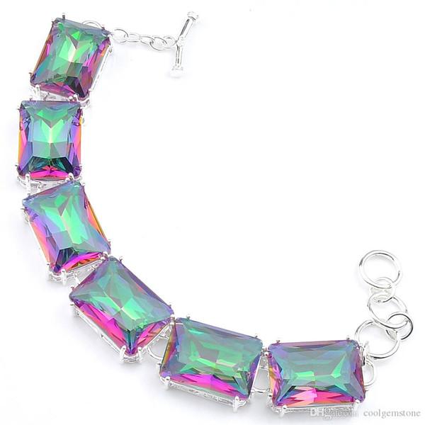 2019 aaaaajewelry 3Pcs/lot Shiny square Mystic Topaz 925 Sterling Silver Plated Chain Bracelets Russia Australia USA Bracelets Jewelry