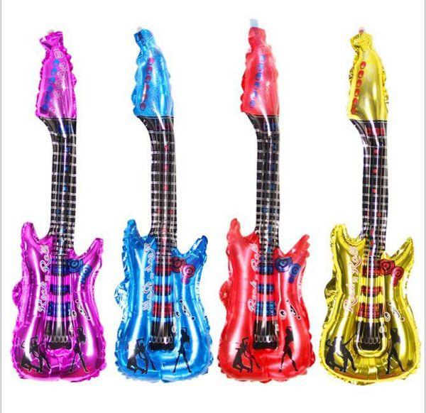 Decorações de Novo Design Natal 85 * 30 centímetros guitarra vara Torcer 4 cores partido balões guitarra brinquedos infláveis metálico presente de casamento