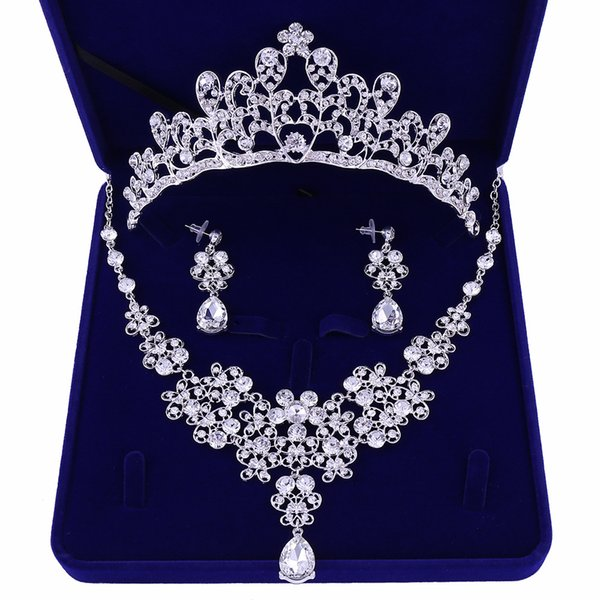 2019 Silver Plated Crystal Bridal Wedding Party Jewelry Set Tiara Crown Necklace Earrings for Brides Hair Jewelry Accessories