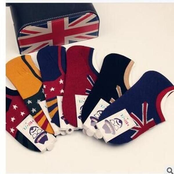 mens calcetines de las mujeres del diseñador del calcetín de algodón de la bandera de Nueva invisibles calcetines de la boca baja de verano de los hombres retro sudar-absorbente respirable
