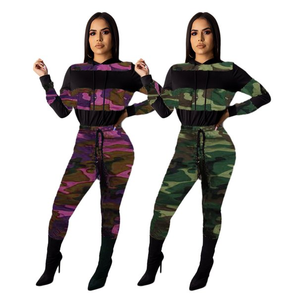New Arrivals Camouflage Printing Two Pieces Tracksuits Women Hooded Long Sleeves Top and Pants Casual Sports Outfits Autumn
