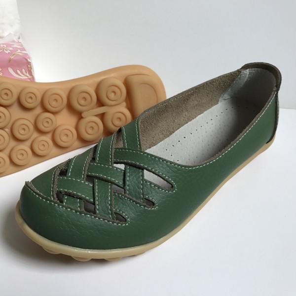 Hollowed-out Oxford-sole 평상 신발 어머니의 신발 플랫 가죽 샌들 작업 신발