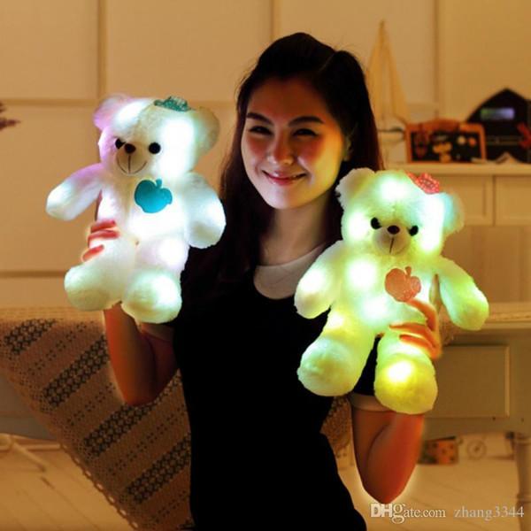 38CM LED Light Bear Plush Toys Illuminated Flashing Plush Bear Doll Throw Pillow LED Bear Toy Gift for Friends Kids