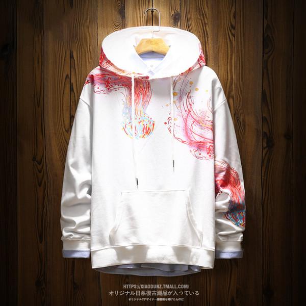 Jellyfish Printing Men Sweatshirts Fashion Round Neck Casual Stylish Hoodies Pullover Couple Studentwear 2019 New Japanese Cloth