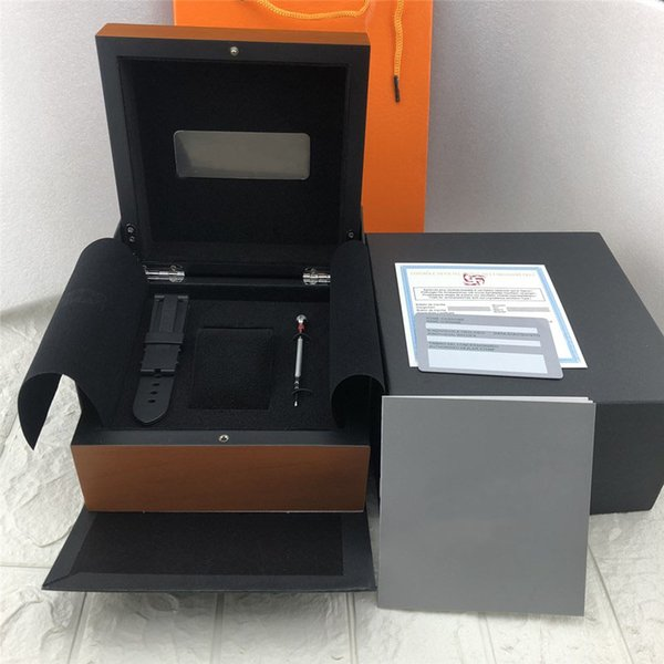 Satış Orijinal PN Yüksek Kalite Ahşap Kutu başına Marka Saat Kutuları Lüks Saatler Moda Hediye Boxs Talimatları Ve Paketi Etiketler