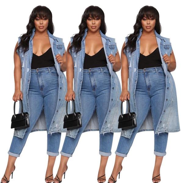 Brasão Mulheres Denim longos casacos Trench Vintage desgastado Waterwash Jean mangas Único Breasted Botão bolso longas roupas casuais S-2XL