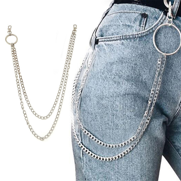 1PC Long Trousers Hipster Key Chains Punk Street Big Ring Key Chain Metal Wallet Belt Chain Pant Keychain Unisex HipHop Jewelry