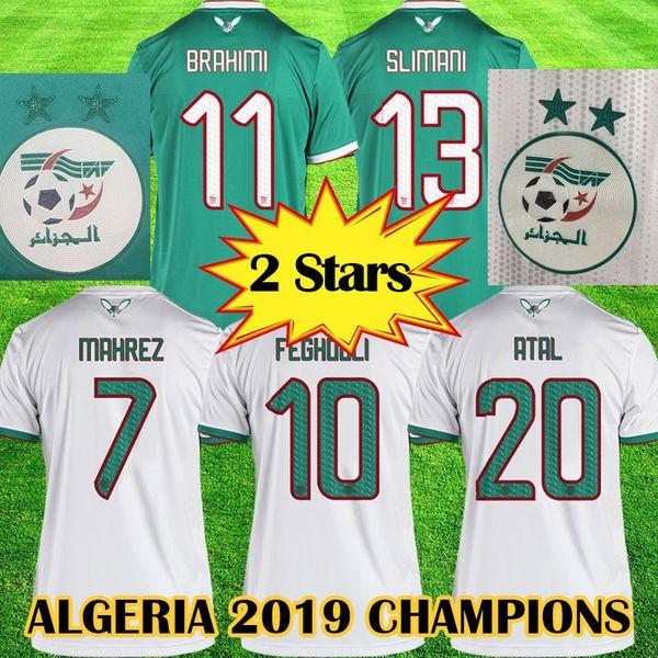 2019 Afrikameisterschaft Algerien Goldstern FUSSBALL JERSEYS ZU HAUSE AFCON MAHREZ FEGHOULI BRAHIMI BOUNEDJAH BOUAZZA 19 20 algerie JERSEY FOOTBALL SHIRTS