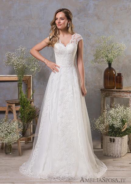 Robes de mariée en dentelle vintage une ligne col en V manches courtes robes de mariée avec dos ouvert robe de campagne du pays Corset robe formelle