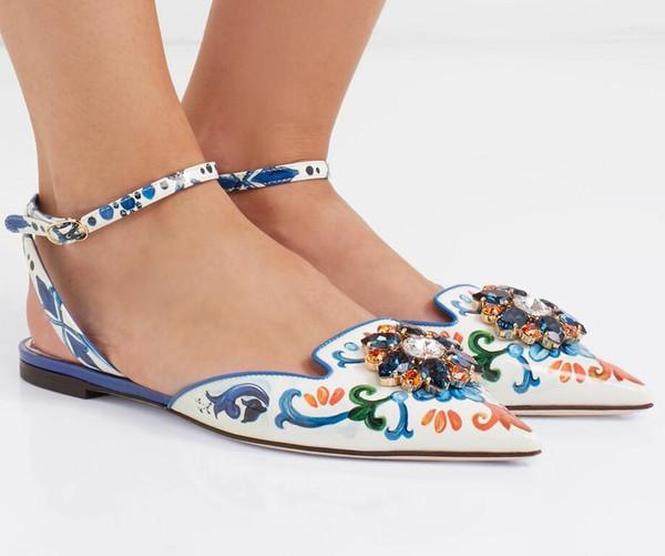 Çiçek baskı deri flats toka kayış katırlar elmas ayakkabı kadın karışık renk loafer'lar çiçek topuklu yaz kumlu elbise ayakkabı