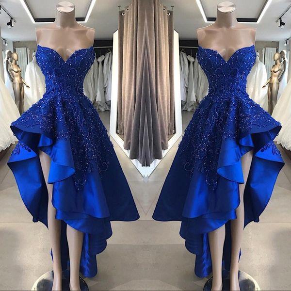 2019 vintage bleu royal court haut bas robes de bal une ligne appliques perlées chérie asymétrique longues robes de soirée