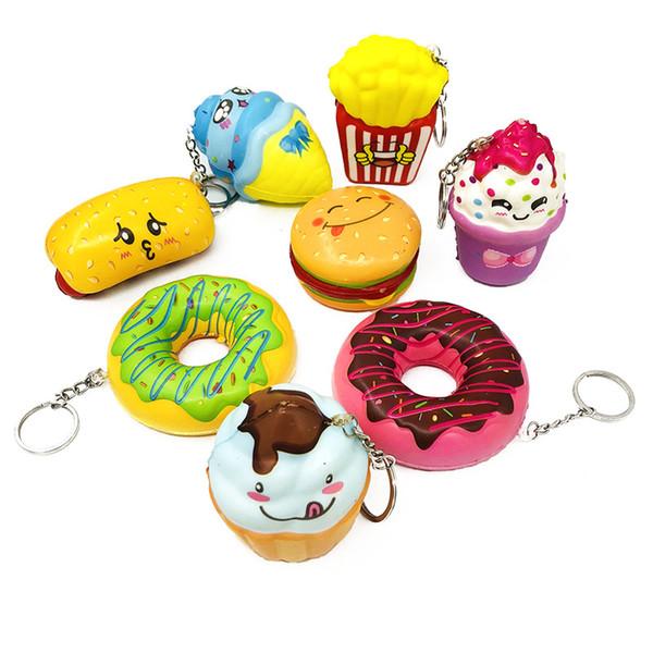 Venda quente 8 Estilo Squishy Pão Donut Sorvete Kawaii Squeeze Dos Desenhos Animados Mini Squishies Descompressão Brinquedo Para Presentes Do Partido Da Criança 5-8 cm