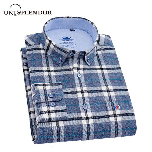 Oxford Textile 100% Coton D'affaires Hommes Chemises Plaid À Manches Longues Hommes Robe Chemises Casual Cool Nouveau Automne Printemps Camisa YN10527
