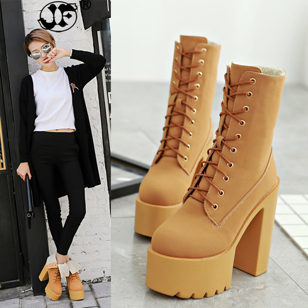 Women Martin Boots Thick High Heel Ankle Boots Lace Up Platform Winter Fashion Woman Shoes