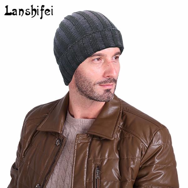 Sıcak Satış Erkekler Için Örgü Şapka Çizgili Kış Kar Şapka Adam Skullies Beanies Sıcak Beanie Yüksek Kalite Şapka Bırak Nakliye
